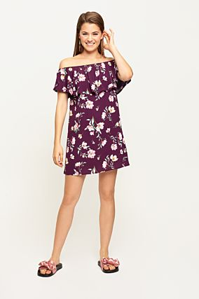 Burdundy Floral Dress