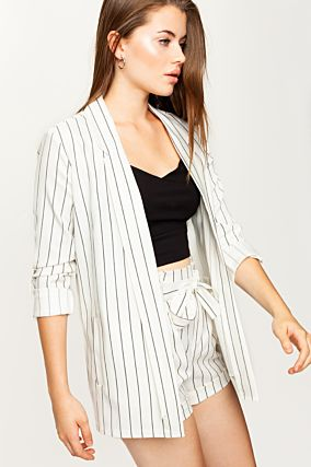 White Striped Blazer