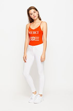 White Power Stretch Skinny Jeans