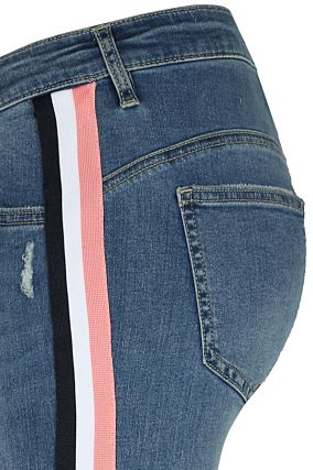 Side Stripe Capri Jeans