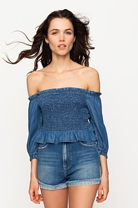 Denim Shirred Top