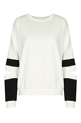 White Cut Out Sweatshirt