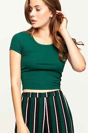 Green Ribbed Top
