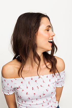 White Floral Crinkled Top