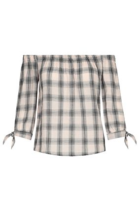 Beige Checked Blouse
