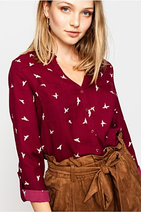 Red Printed Shirt