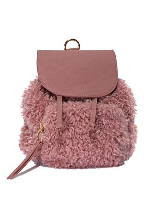 Pink Fluffy Mini Backpack