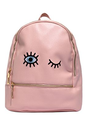 Pink Backpack with Patch