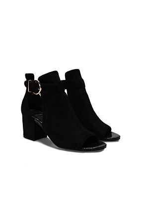 Black Heeled Open Toe Boots
