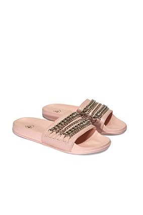 Pink Faux Leather Sliders