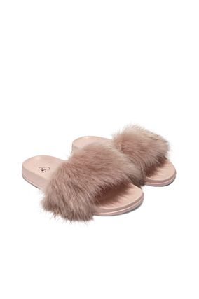 Pink Faux-Fur Sliders
