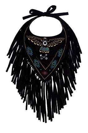 Black Bandana with Tassel Fringe