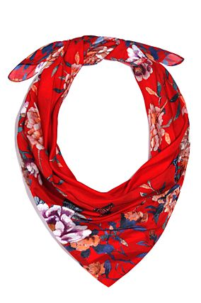 Red Handkerchief Scarf with Flower Prints