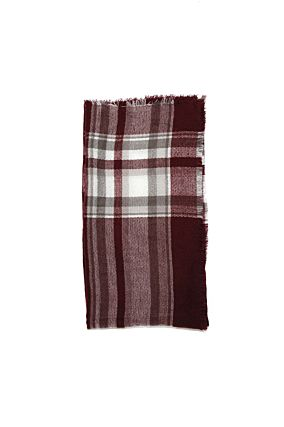 Burgundy Check Scarf