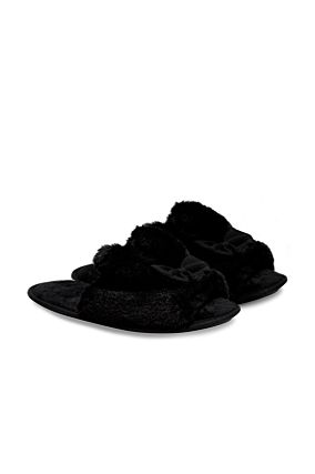 Black Fluffy Bow Slippers
