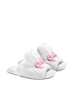 White Fluffy Bow Slippers