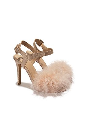 Beige Heeled Sandals with Feather