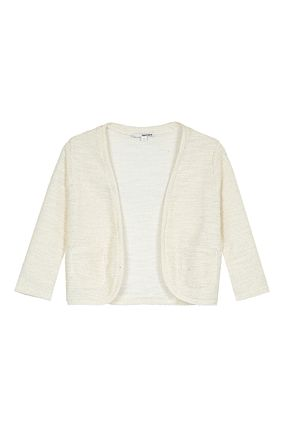 Cardigan Corto in Lurex Beige