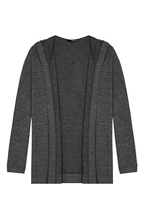 Dark Grey Hooded Cardigan
