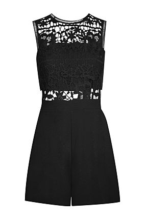 Black Lace Top Playsuit