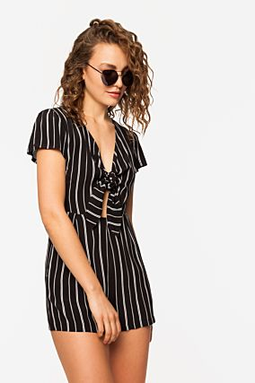 Black Striped Playsuit