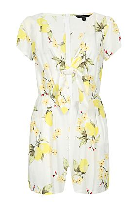 White Printed Playsuit
