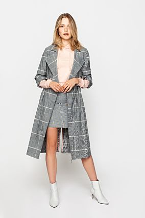 Grey Checked Trenchcoat