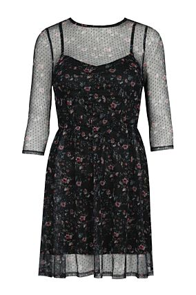 Black Mesh Dress with Flowers