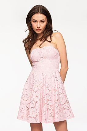 Pink Lace Overlay Bandeau Dress