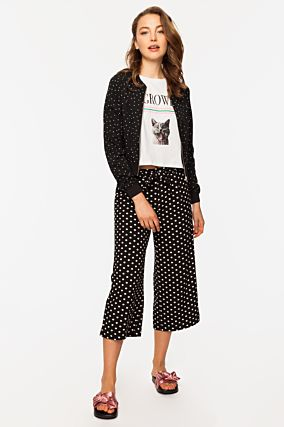 Bomber Jacket with Polka Dot Print