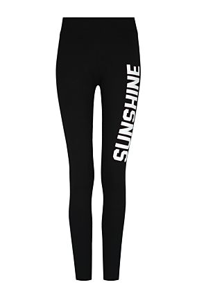 "Black Leggings with Slogan ""Sunshine"""