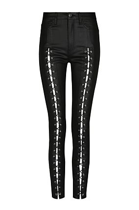 Black Lace Up Trousers