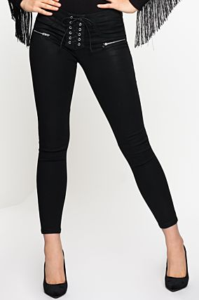 Lace up Trousers with Push-Up Effect