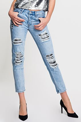 Light Blue Boyfriend Jeans with Silver