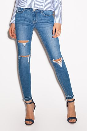 Jeans Skinny Vita Bassa Destroyed