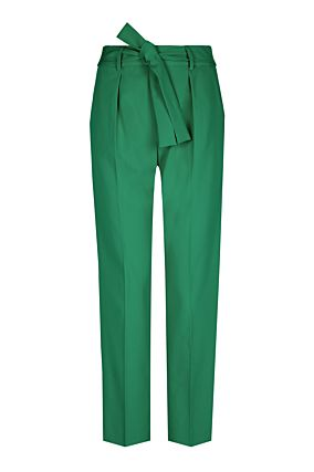 Green High Waist Tie Trousers