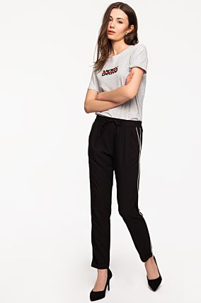 Black Trousers with White Piping