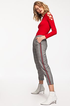 Pantalon Gris à Bandes Rouges