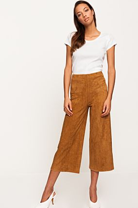Camel Suedette Trousers