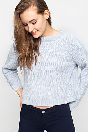Chenille Jumper with Silver Hem
