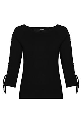 Black Lace Up Sleeves Jumper