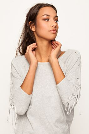 Grey Lace Up Sleeves Jumper