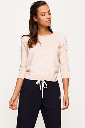 Pink Lace Up Sleeves Jumper