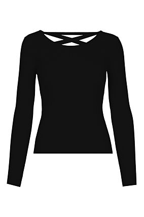 Black Lace Up Back Jumper