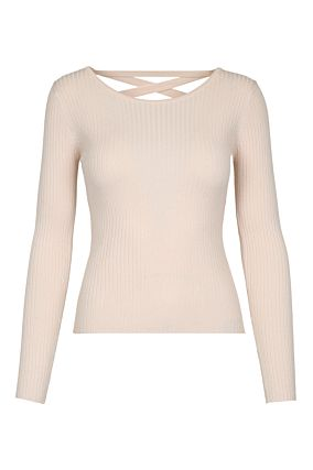 Pink Lace Up Back Jumper