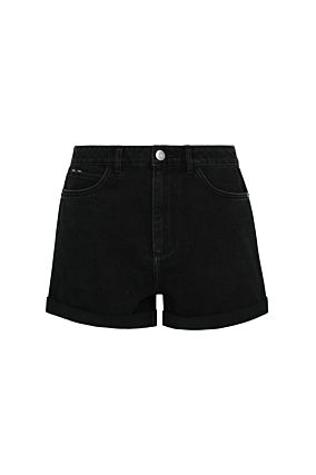 Black Blue Denim Shorts