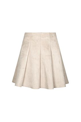 Light Beige Suedette Box Pleat Skirt