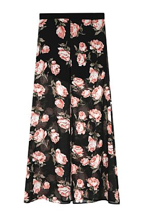 Black Floral Split Skirt