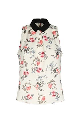 Floral Blouse with Black Collar