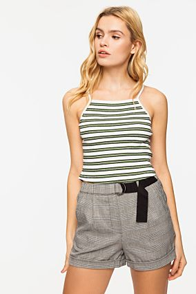 Green Striped Crop Top